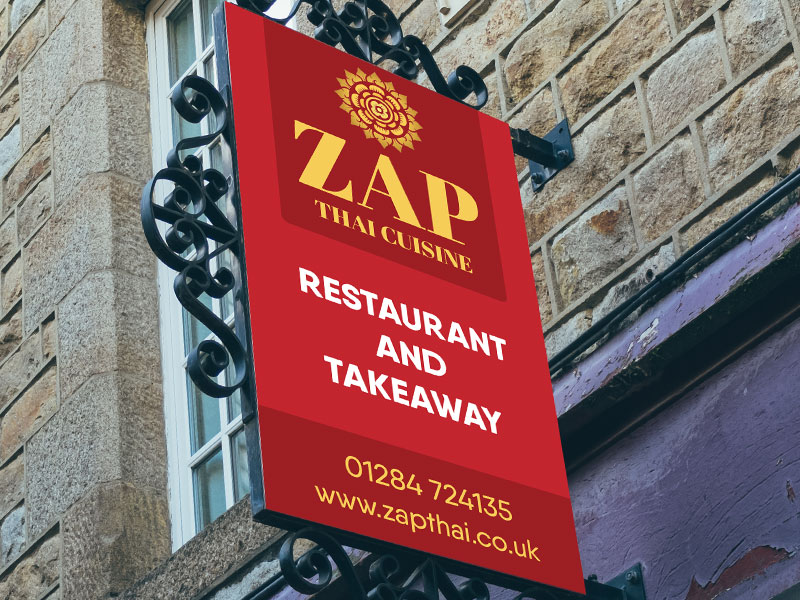 New sign for Zap Thai in Suffolk