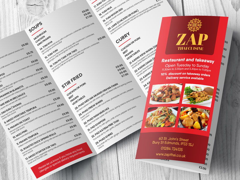 Zap Thai Bury St Edmunds menu printing