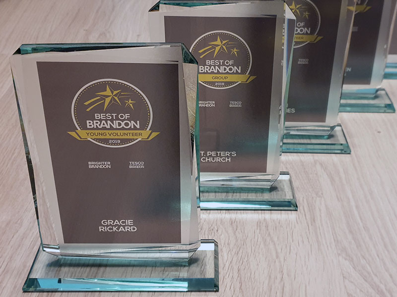Glass Trophy Design and Print for the Best of Brandon Awards