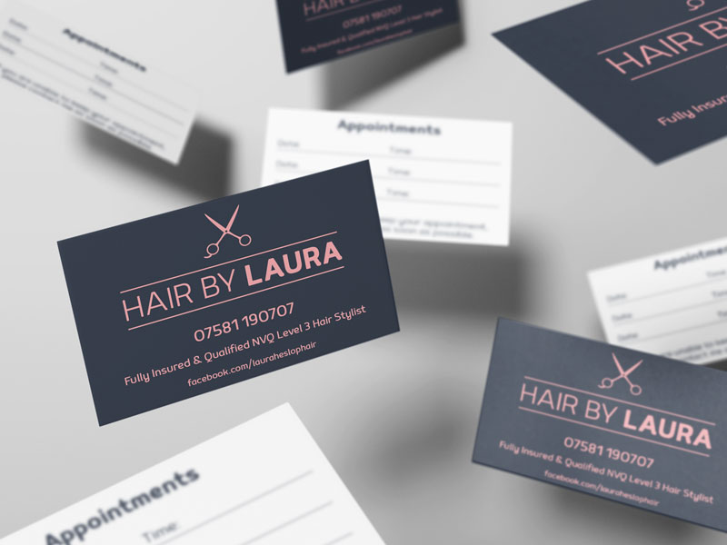 Business and Appointment Cards for Hair By Laura